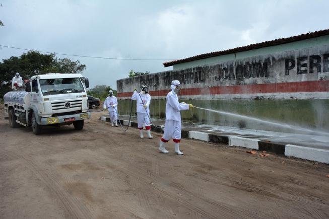 Prefeitura realiza desinfecção em unidades de saúde e ambientes públicos